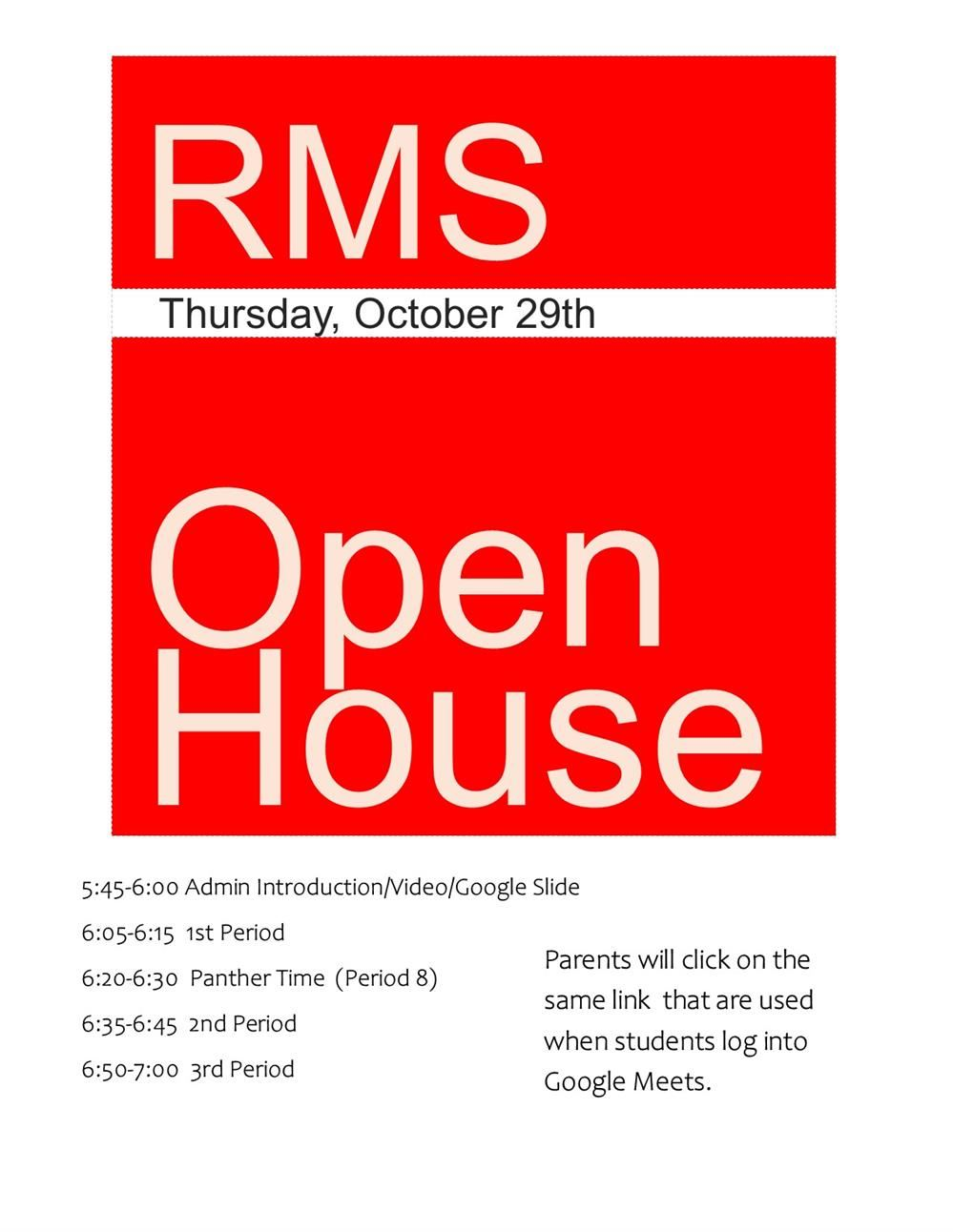 Virtual Open House 5:45PM Admin Introduction (click for schedule)