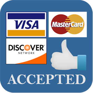 GOOD NEWS!  WE ARE NOW ABLE TO ACCEPT CREDIT AND DEBIT CARDS!