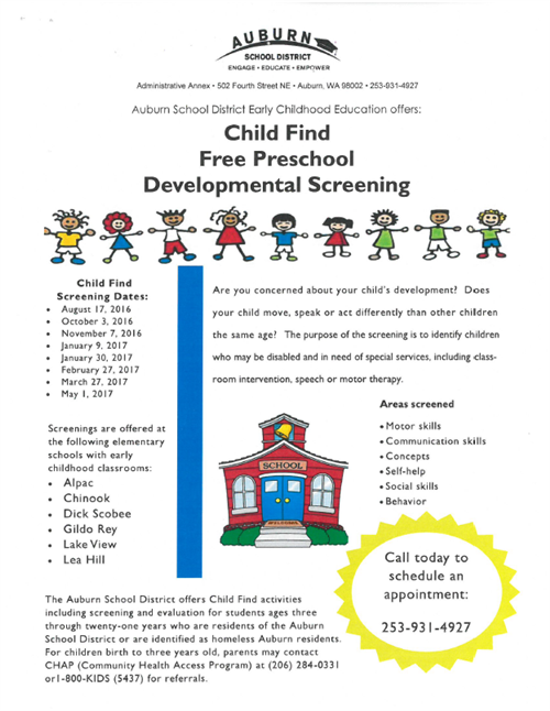 Free preschool screening