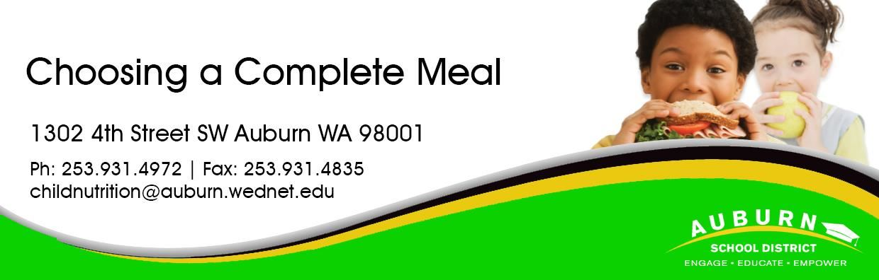 Complete Meal Web Banner - Boy eating sandwich, girl eating apple.