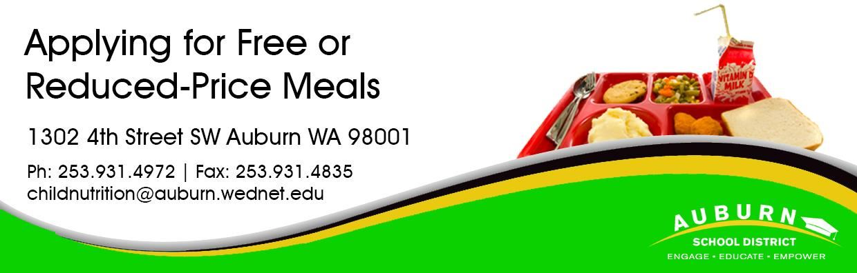 Apply Free and Reduced Price Meals Web Banner- Lunch tray.