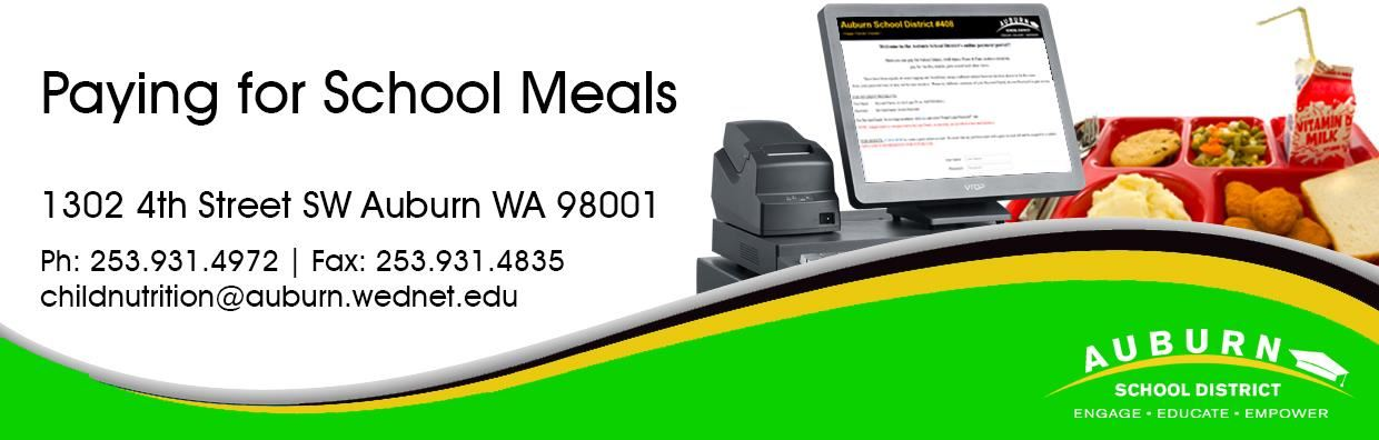 Paying for School Meals Web Banner - School lunch tray and checkout.