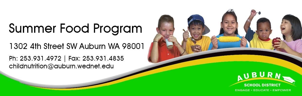 Summer Food Program Web Banner - Kids eating and drinking various foods and beverages.