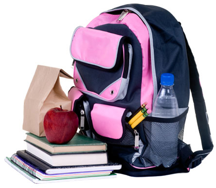 Being prepared for school. Backpack with books, homework, lunch.