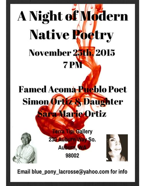 A Night of Modern Native Poetry 11/25 7pm at Terra Tipi