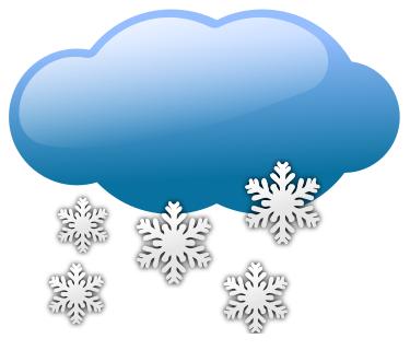 Snow shower; cloud; snowflakes.