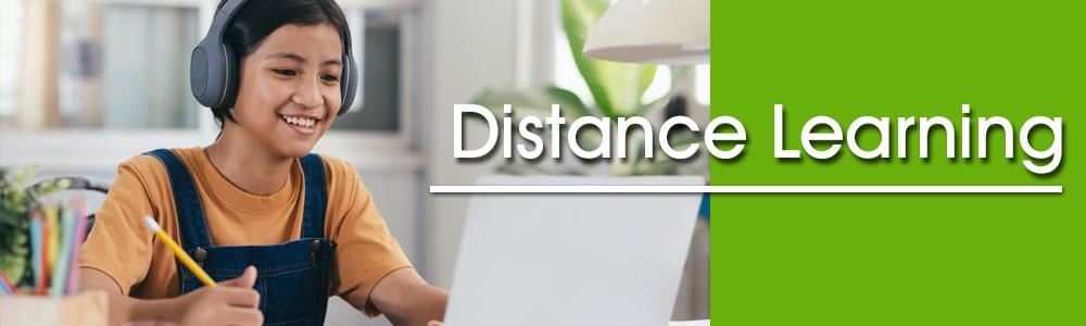 Distance Learning Banner - Girl distance learning with headphones and laptop.