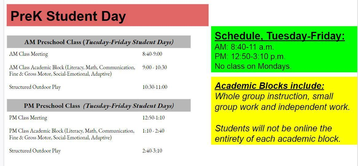 PreK Student Day Schedule
